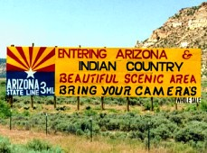 'Entering Arizona' state line billboard