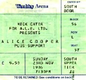 Alice Cooper concert ticket, Wembley Arena 1986