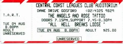 Concert Ticket, Central Coast Leagues Club, Gosford, August 4, 1998