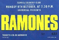 Ramones concert ticket, Town + Country Club, London